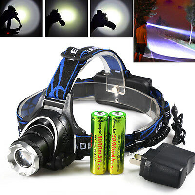 CREE 8000LM XM-L T6 LED Headlight Zoomable Rechargeable HeadLamp +18650+Charger