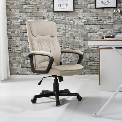 Executive Chair Office Seat Computer Desk Ergonomic Padded Microfiber Beige