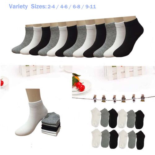 New 6-12 Pairs Child Girls Kids Ankle Low Cut Socks Solid Cotton Multiple Sizes