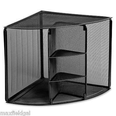 Large Wire Mesh Corner Desk Top Organizer Strong Rubber Feet Cubbies Shelves