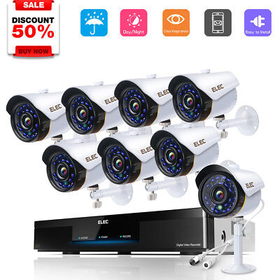 ELEC 8CH 1080P CCTV AHD DVR 2000TVL Outdoor Night Vision Security Camera System