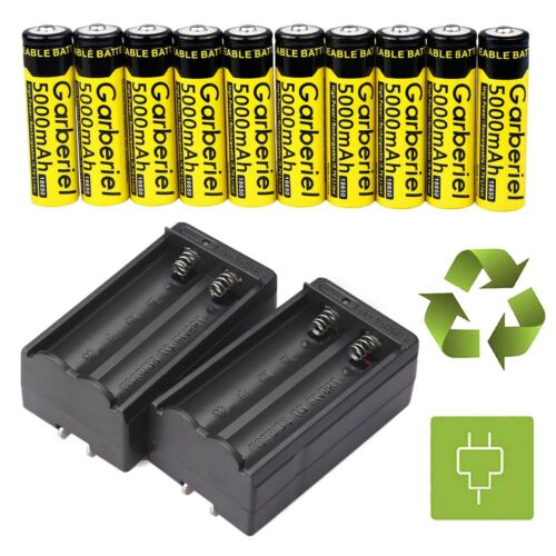 10PCS GARBERIEL 3.7V 18650 Battery Li-ion 5000mAh Rechargeable Battery+2XCharger