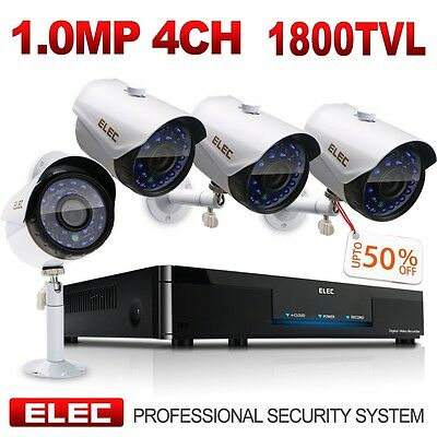 ELEC 4CH HDMI 1080P DVR 1800TVL Outdoor CCTV Wired Home Security Camera System