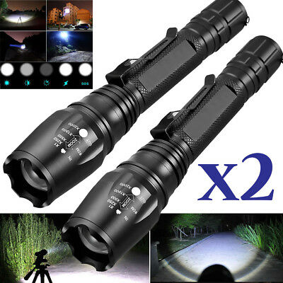 2 PACK Tactical Zoomable 90000Lumens 5-Modes T6 LED 18650 Fl