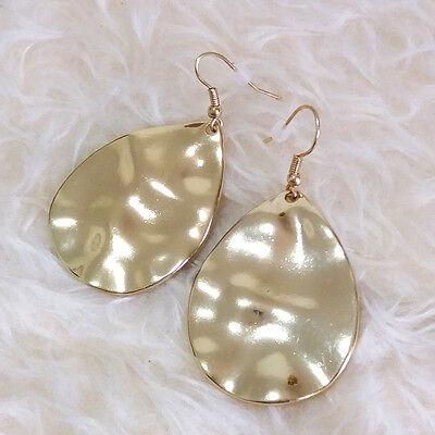(NEW Fashion Stylish Womens Wave Teardrop Metal Charm Dangle Drop Hook Earrings)
