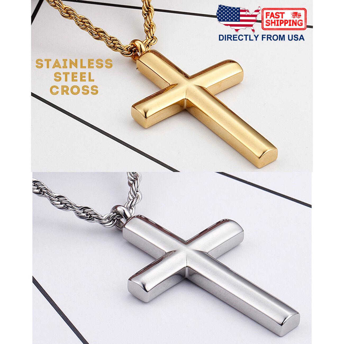 Men's Stainless Steel Western Plain Cross Pendant Necklace Chains, Necklaces & Pendants