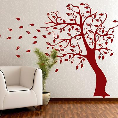 Wandtattoo Wandaufkleber Herbstbaum Baum - Baum im Wind - Blätter +368+ ()
