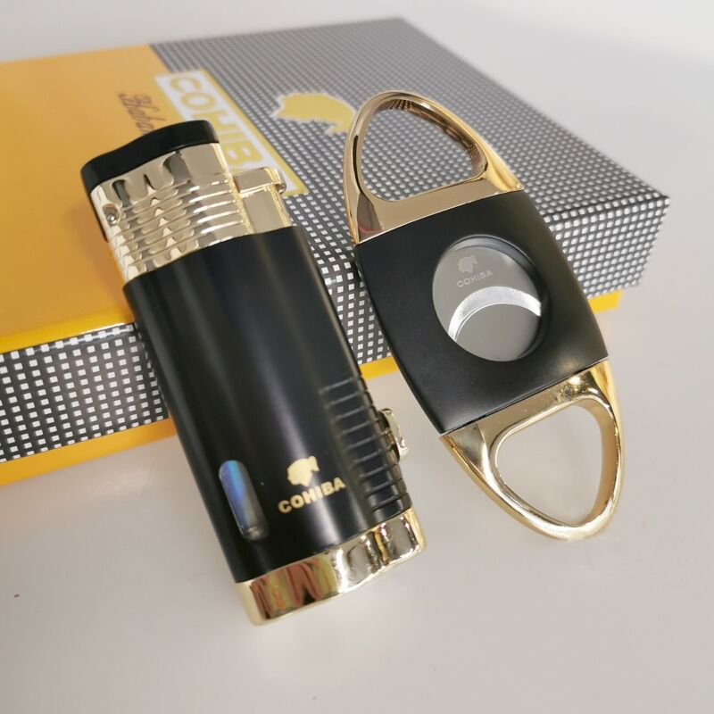 Jet 3 Flame Cigar Lighter Torch and Cigar Cutter Set Packing with Nice Gift Box