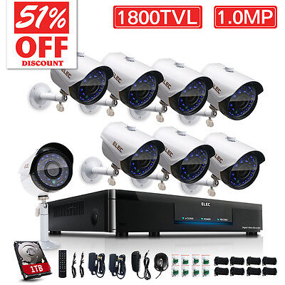 ELEC HDMI 8CH 960H DVR 1800TVL Outdoor Video CCTV Security Camera System 1TB Kit