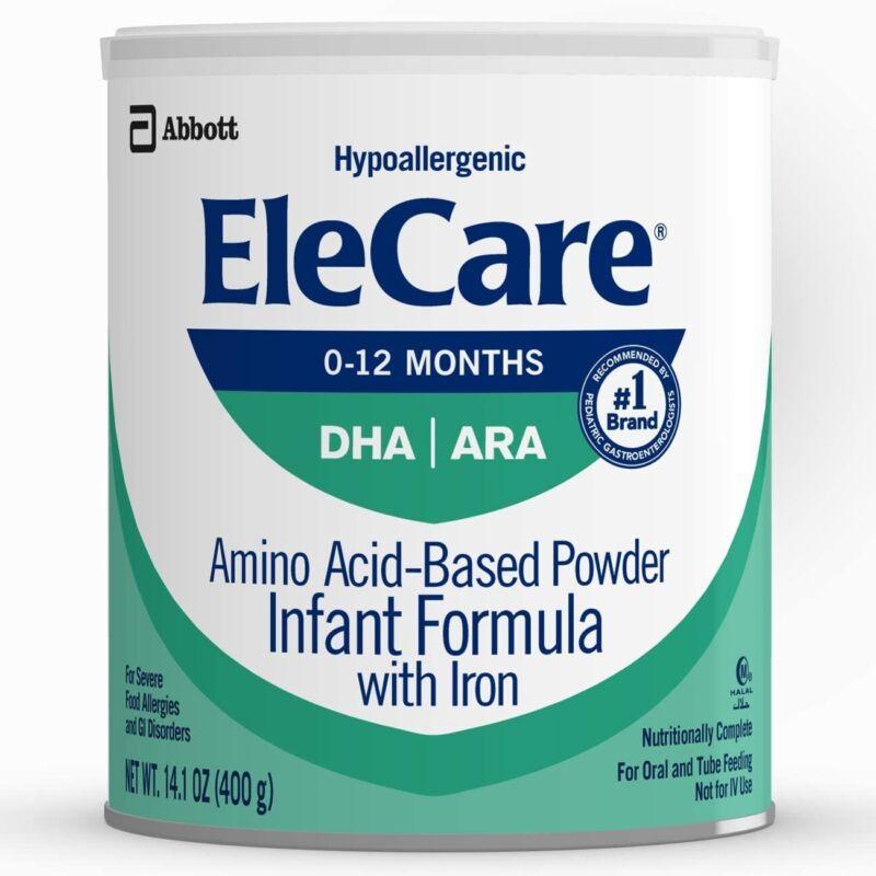 EleCare DHA ARA Hypoallergenic Powder - 1 Case ( 6 Cans) 14.1oz Exp.1/JUL/2023
