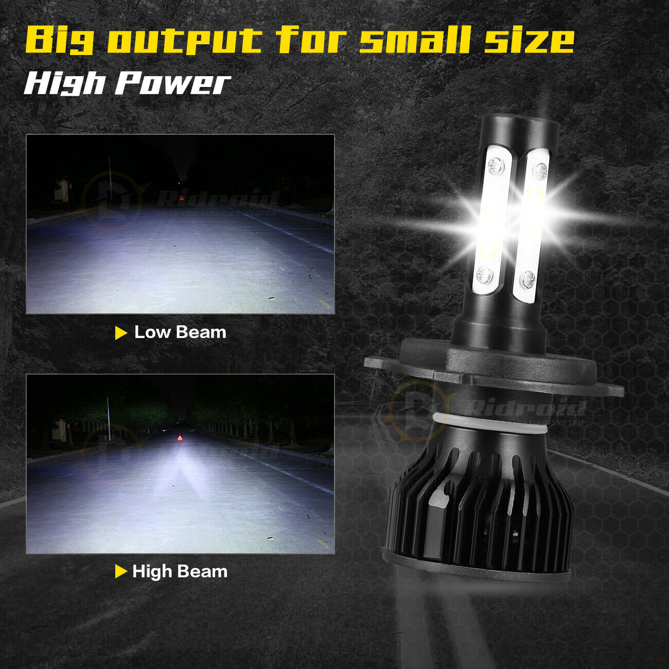 как выглядит H4 / 9003 4-Sides LED Headlight Conversion Kit 2400W 360000LM Hi/Lo Beam Bulb фото