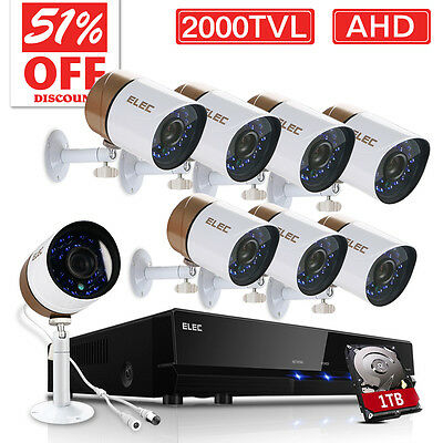 ELEC 2000TVL 8CH 1080N DVR 720P HD CCTV Home Security Camera System 1TB HDD