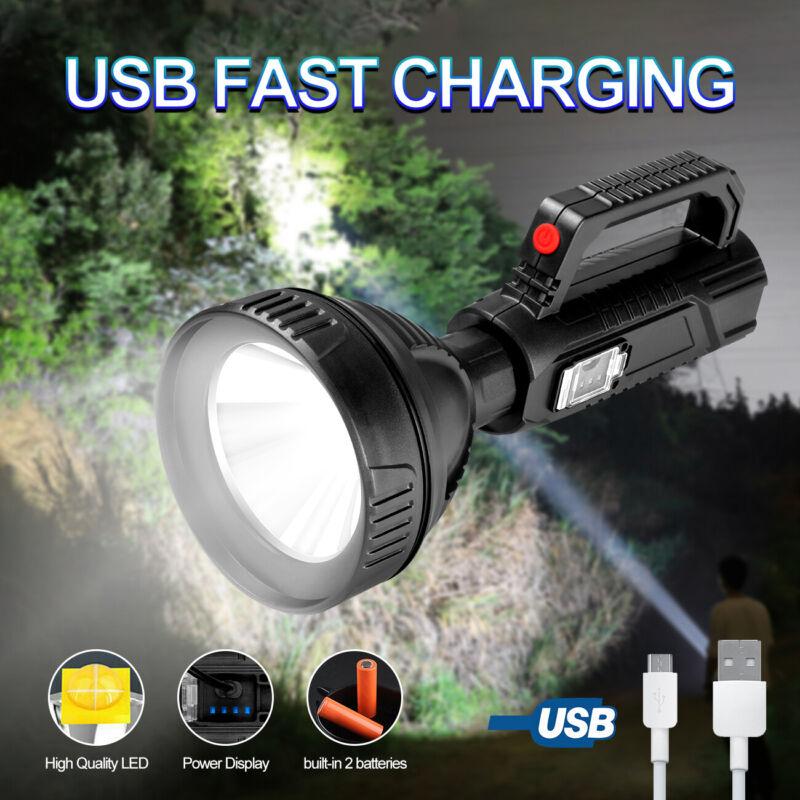 Bright LED Searchlight Flashlight USB Rechargeable Spotlight Torch Work Handheld