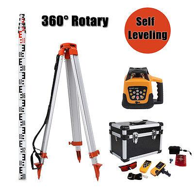 Automatic 500m Range RED Beam Self-leveling Rotary Laser Level Tripod Staff