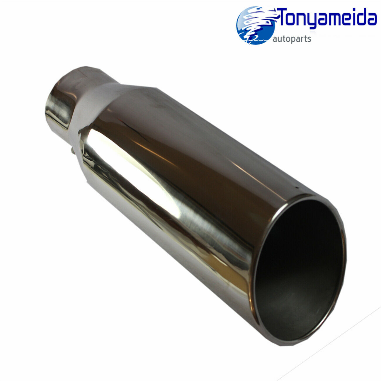 """Polished Stainless Bolt On Angle Cut Roll Exhaust Tip 4/"""" Inlet 6/"""" Outlet 15/""""Long"""