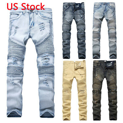 Mens Skinny Ripped Destroyed Distressed Jeans Plain Stretchy Tapered Leg Pants