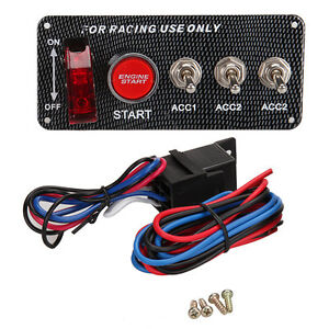 Carbon 12V Ignition Switch Panel Engine Start Push Button LED Toggle Racing Auto