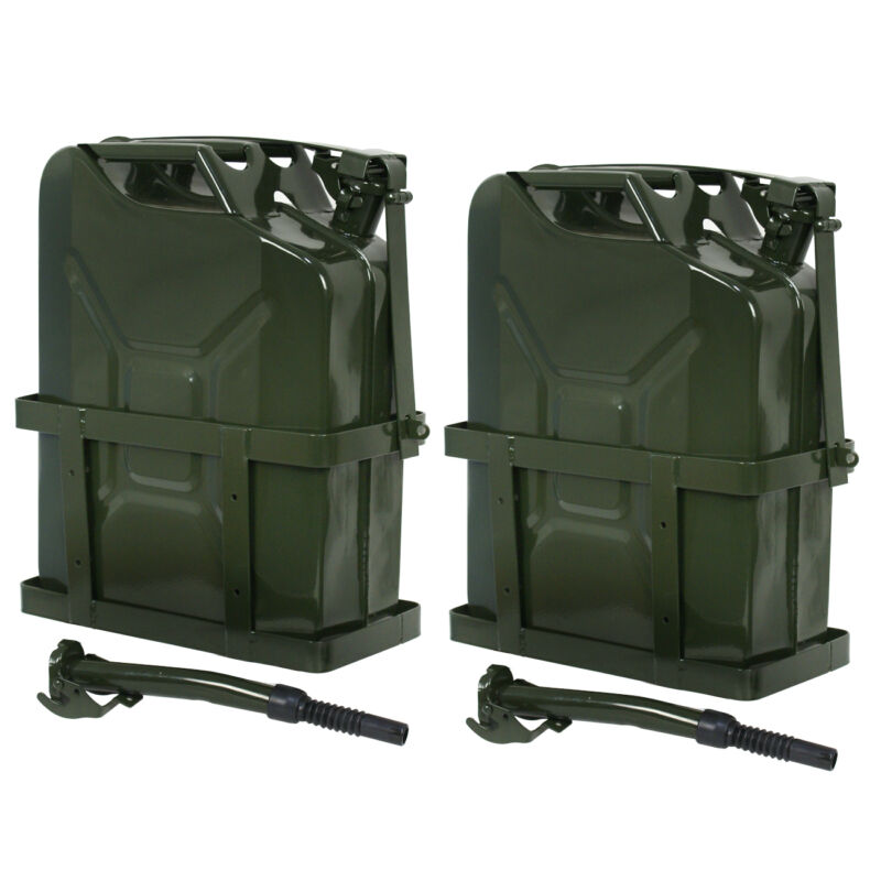 2x Jerry Can Fuel Tank w/ Holder Steel 5Gallon 20L Army Backup Military Green