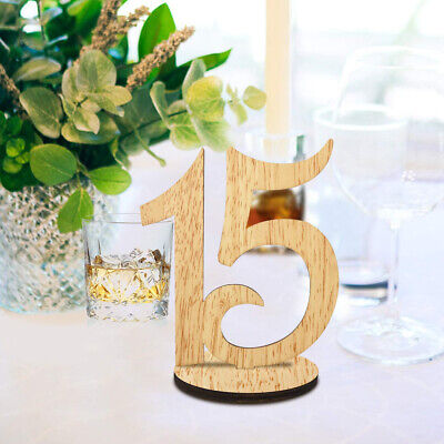 ElekFX Table Numbers 1-15 Wedding Wooden Table Number Cards with Round Base for ()
