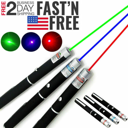 3 Packs 900Mile Strong Laser Pointer Pen Green Blue Red Light Visible Beam Lazer