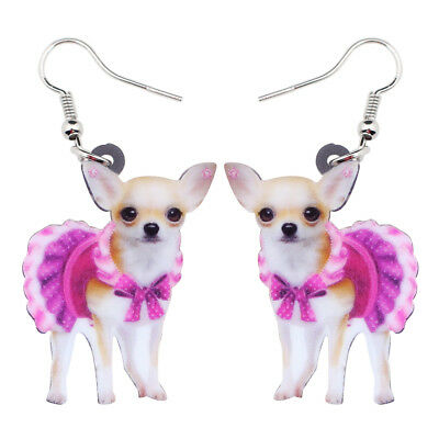Acrylic Pink Dress ChiHuaHua Dog Earrings Drop Dangle Pet Jewelry For Women Gift