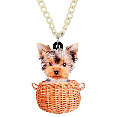 Acrylic Basket Yorkshire Terrier Dog Necklace Pet Pendant Jewelry For Women Gift