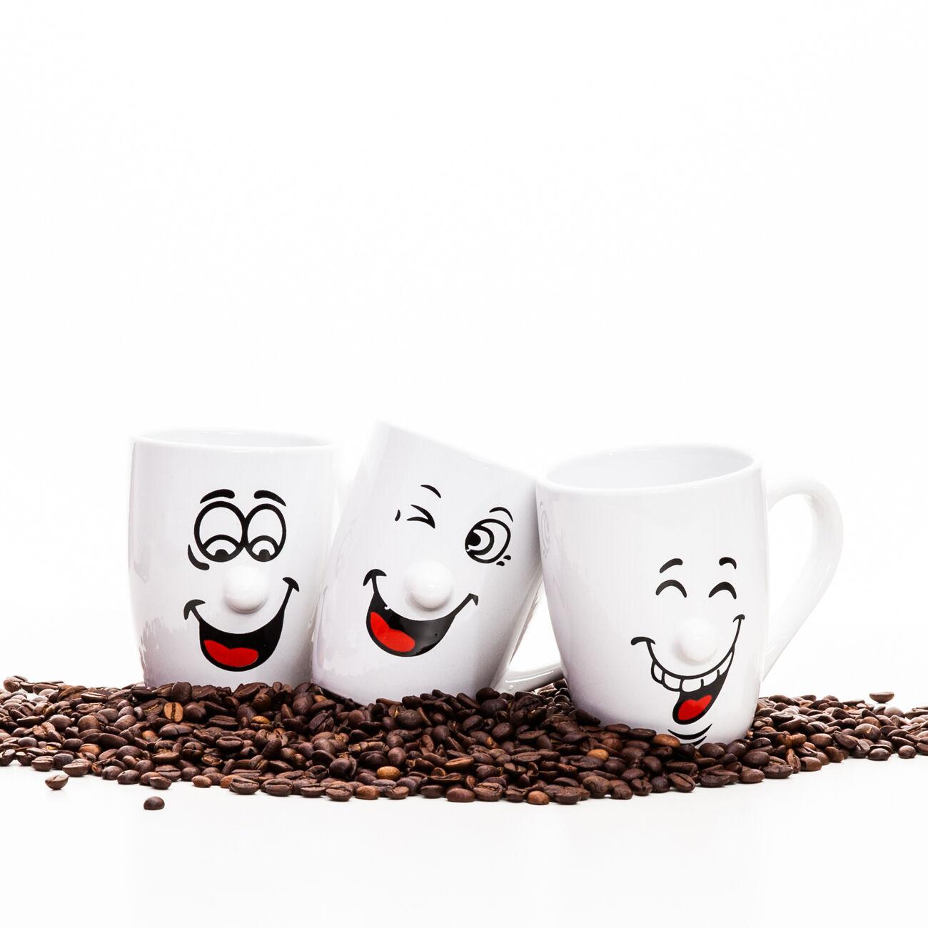 3er set kaffeetasse gesicht tassen becher kaffeebecher kaffee keramik teetasse ebay. Black Bedroom Furniture Sets. Home Design Ideas