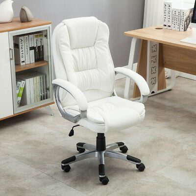 White Faux Leather Modern Executive Computer Conference Desk Office Chair