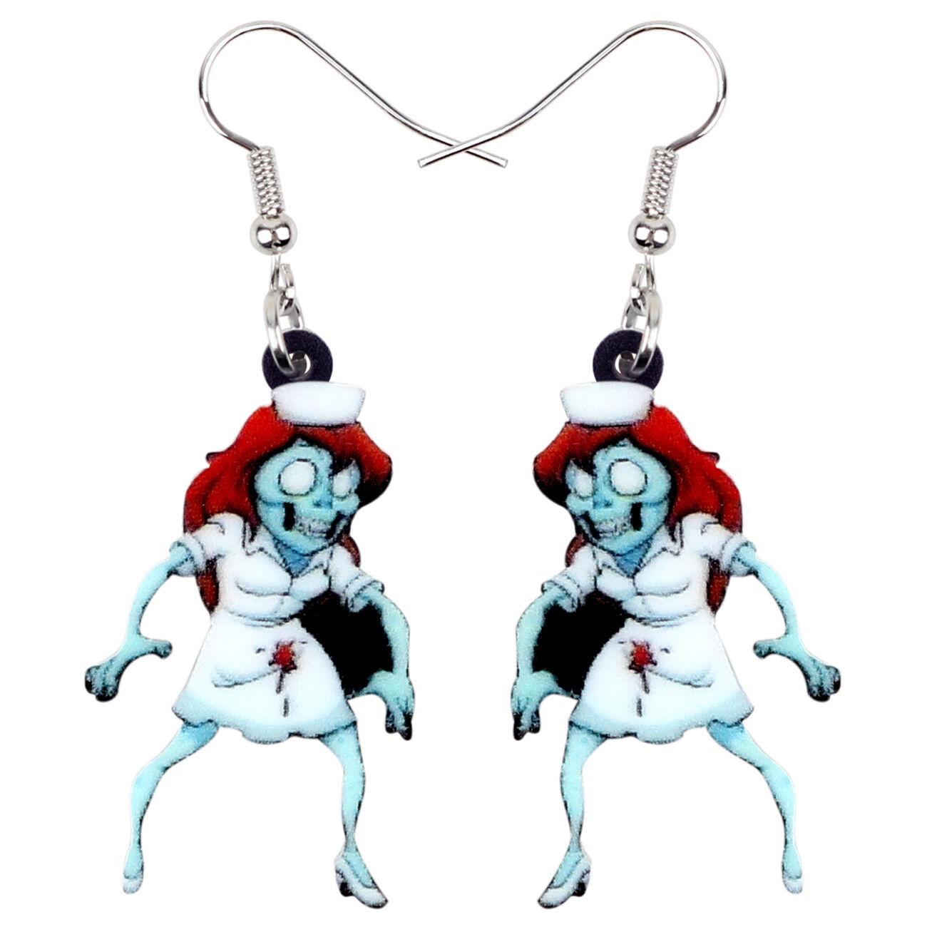 Acrylic Halloween Nurse Zombie Earrings Drop Dangle Party Je