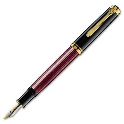 Pelikan Souveran M600 Fountain Pen - Black & Red Gold Trim - Fine Point - 928655