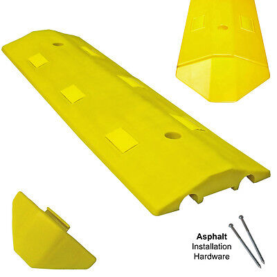 Asphalt Light Weight Speed Bump Traffic Road Safety Control - 3 Length - Yellow