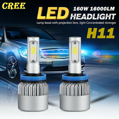 NEW CREE H11 160W 16000LM LED Headlight Kits Bulbs Light Lamp Pure White 6000K