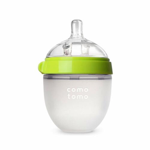 New! Comotomo Baby Bottle, Green, 5 Ounce Single & Double & Nipple.
