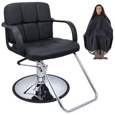 Cutting Hair Cape w/ Hydraulic Barber Chair Salon Beauty Spa Styling Black Seat