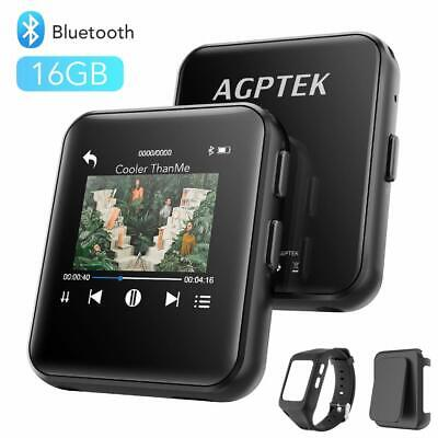 AGPTEK Clip MP3 Player Bluetooth 16GB with Watch Strap Wearable Music Player