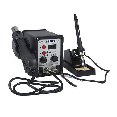 2 In1 8586 Smd Soldering Iron Hot Air Rework Station Hot Air Gun Digital Display
