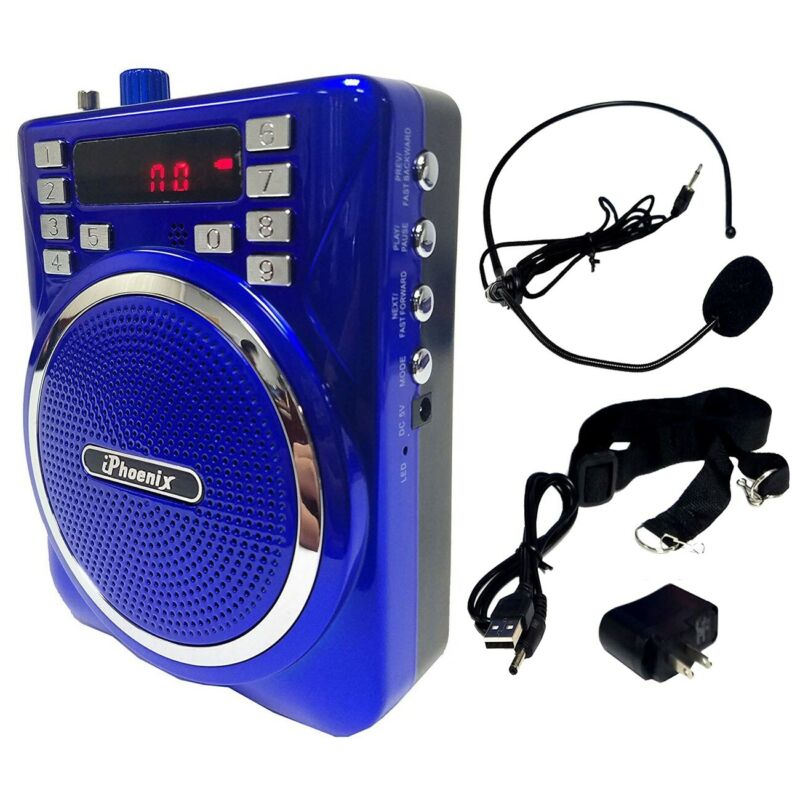 Portable Wireless Audio PA Speaker Sound System Microphone Karaoke Party Blue