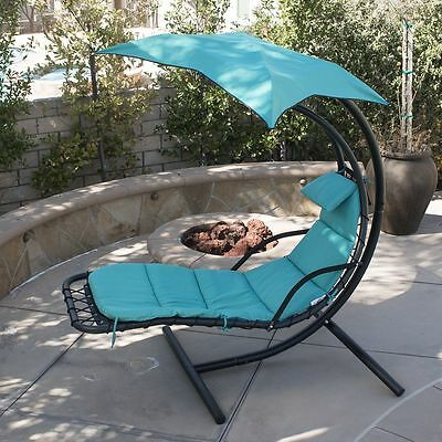 Hot Hanging Chaise Lounger Chair Mattress Arc Frame Stand Air Porch Swing Seat