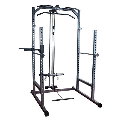 Half Power Rack Cage Squat Dip Station Press Pull Up w/ Lat Attachment Gym Home