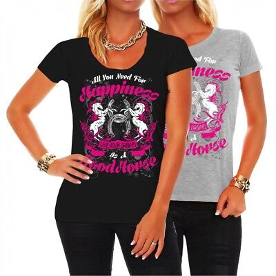 Mädchen Shirt Geburtstag (Frauen Mädchen T-Shirt Good Horse Pferde Reiterin Motiv Pony Geschenk geburtstag)