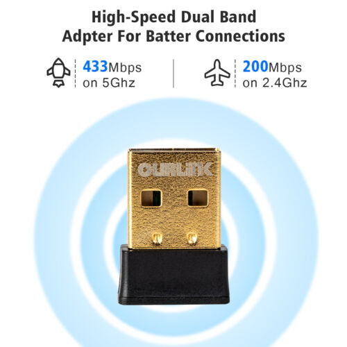 Nano AC600 600mbps Wireless Mini Dual Band USB 2.0 WiFi Adapter for PC Laptop Computers/Tablets & Networking