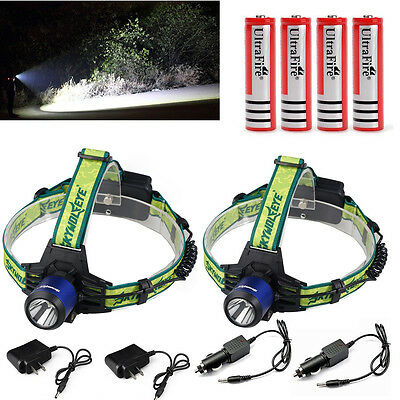 2X 8000lm Rechargeable Led Headlamp Headlight Cree XM-L T6 Torch Battery&Charger