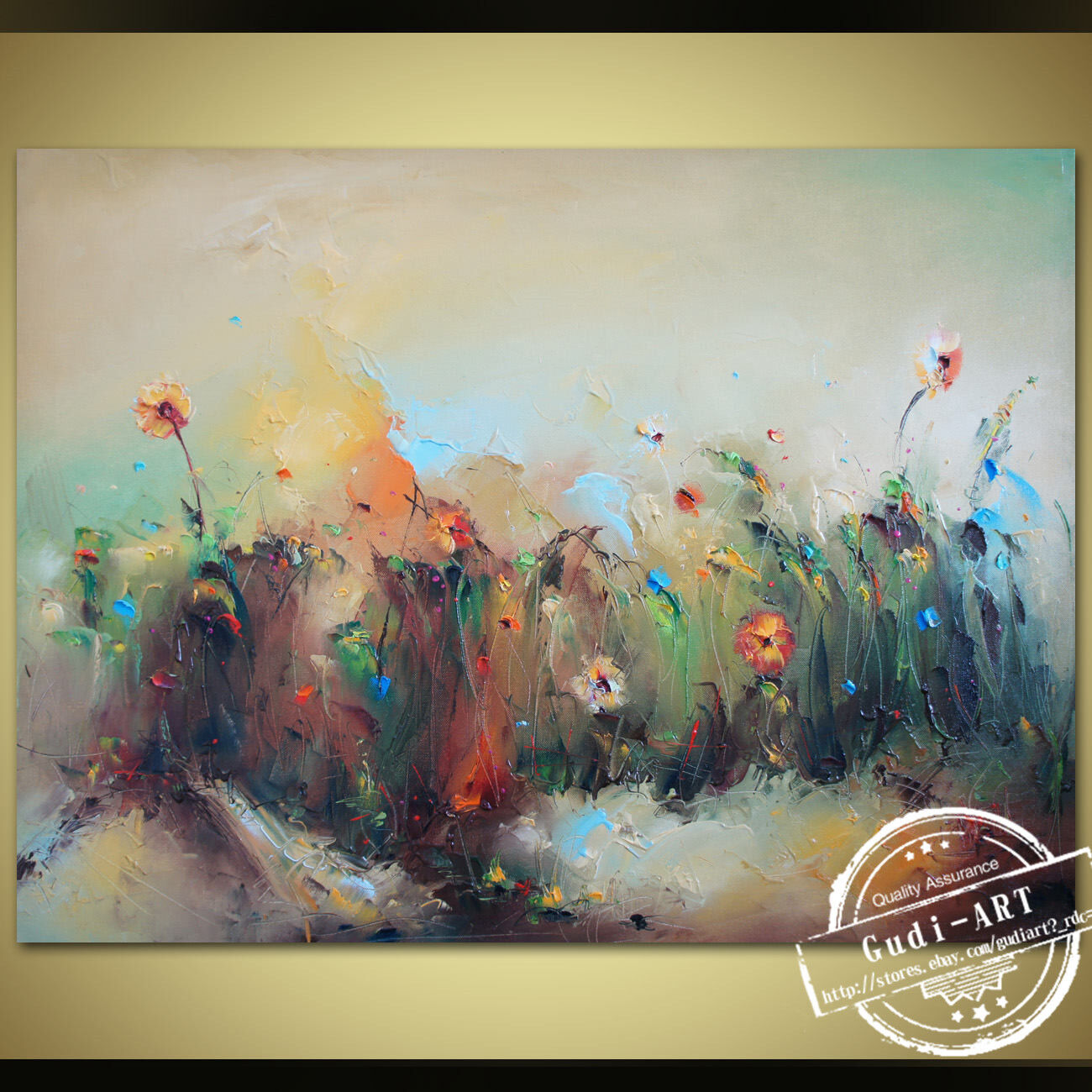GUDI-Abstract Hand-Painted Flower Oil Painting Home Modern Decor ...