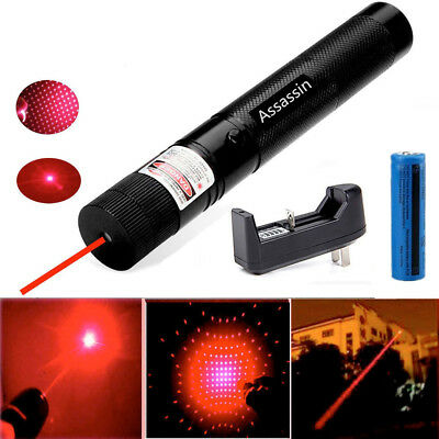 2in1 50miles 650nm Red Laser Pointer Pen Adjustable Bright Beam18650 Battchar