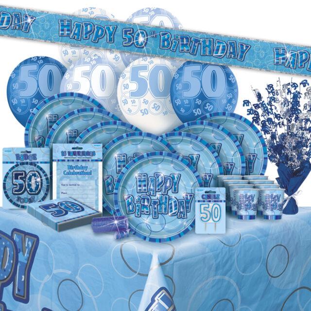 AGE 50/50TH BIRTHDAY BLUE GLITZ PARTY RANGE (Balloon/Decorations/Banner/Napkins)