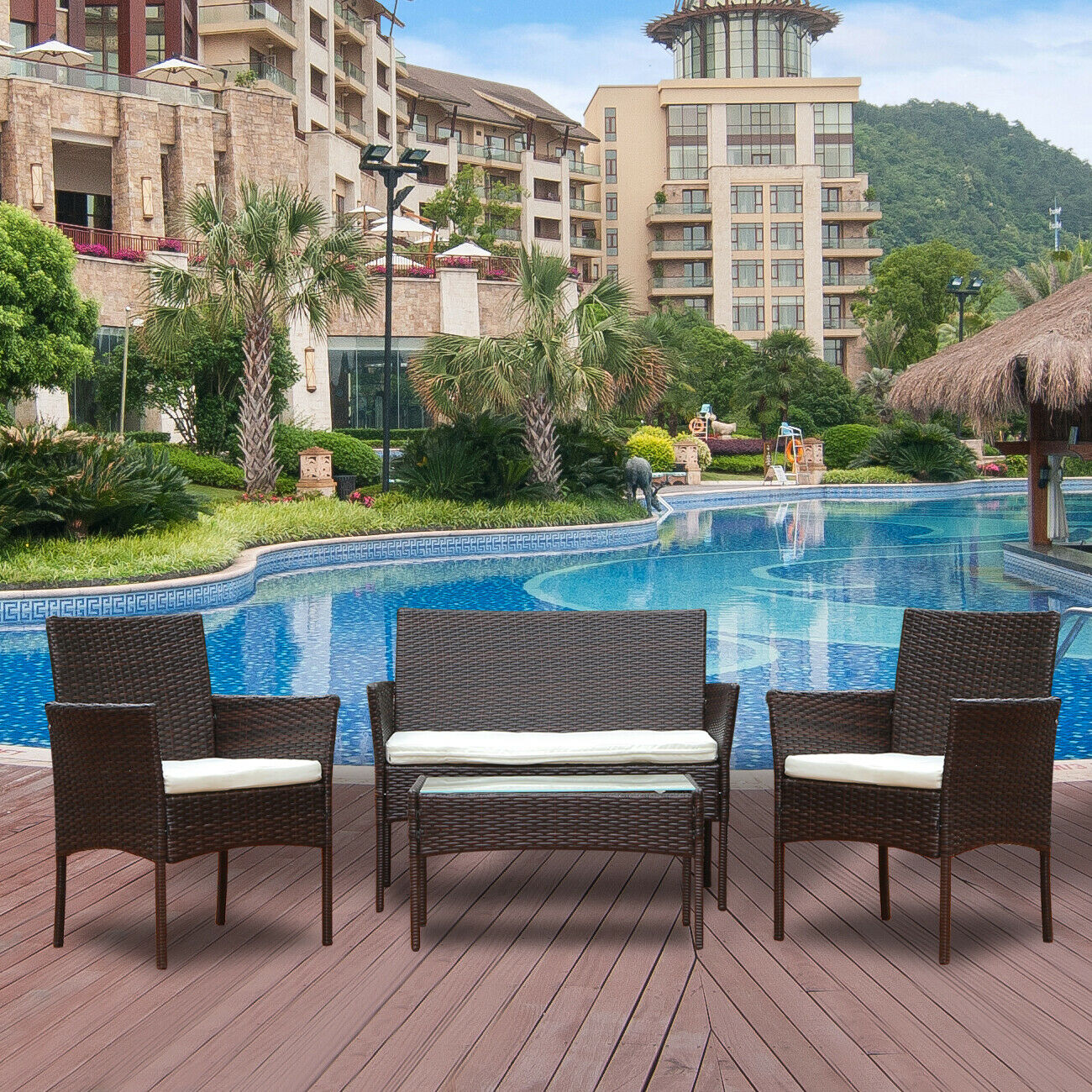 Garden Furniture - 4x Brown Conservatory Rattan Garden Furniture Sofa Chair Table Set Patio Outdoor