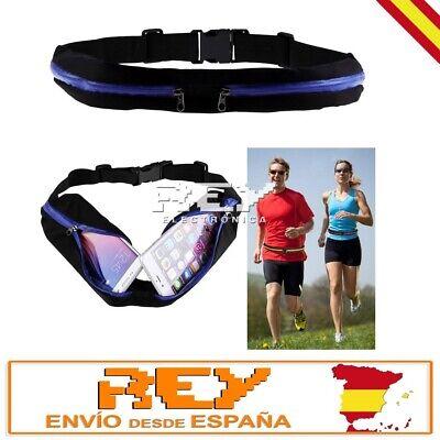 Riñonera Deportiva Doble Bolsa Cintura Running Sport Cinturon NEGRO y AZUL d18