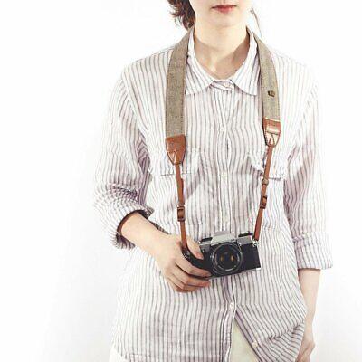 Vintage Classic White and Brown Weave Camera Shoulder Neck Strap Belt Canon DSLR Camera, Drone & Photo Accessories