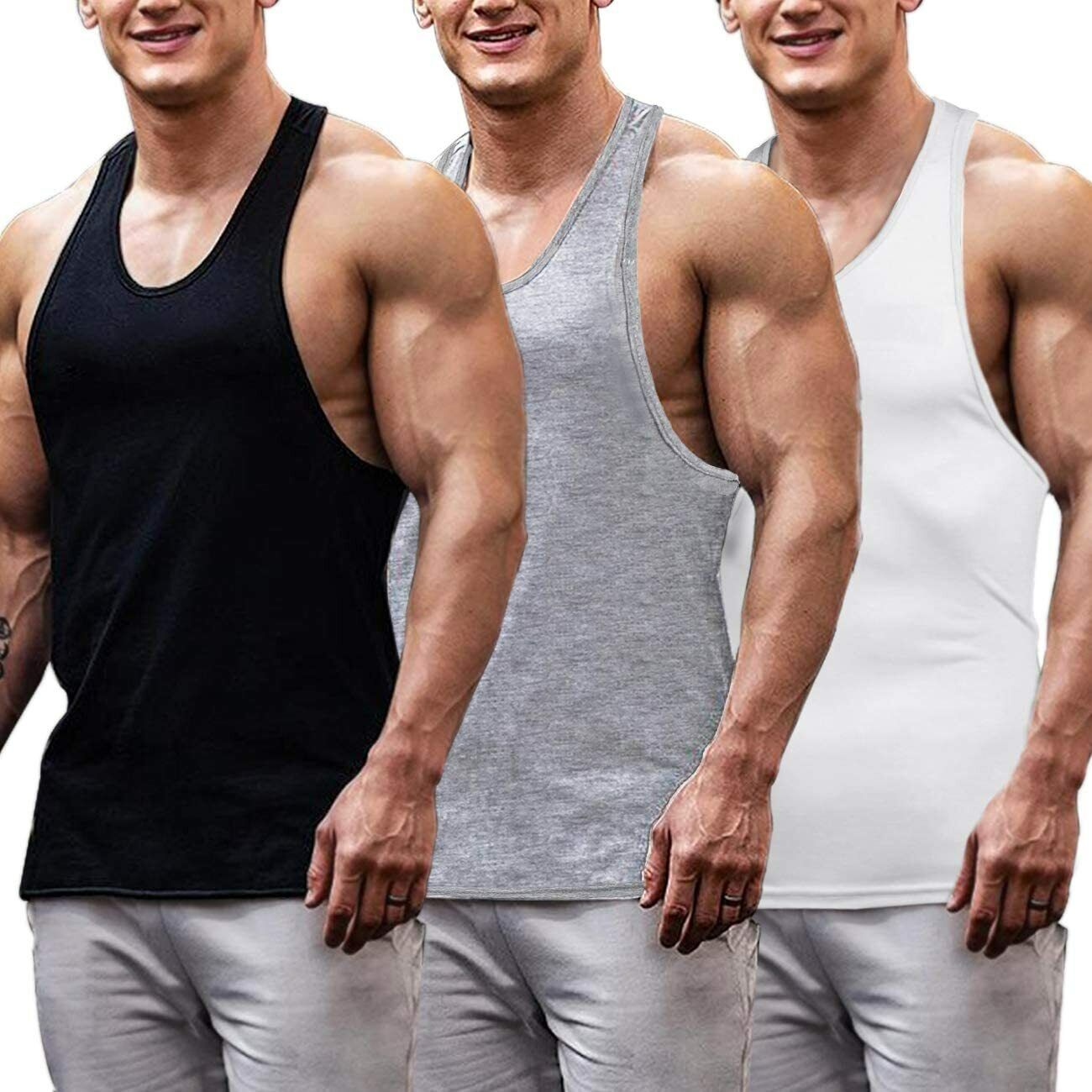 6 Pack Men Tank Tops 100% Cotton Undershirt Gym Workout Stringer Fitness T-Shirt
