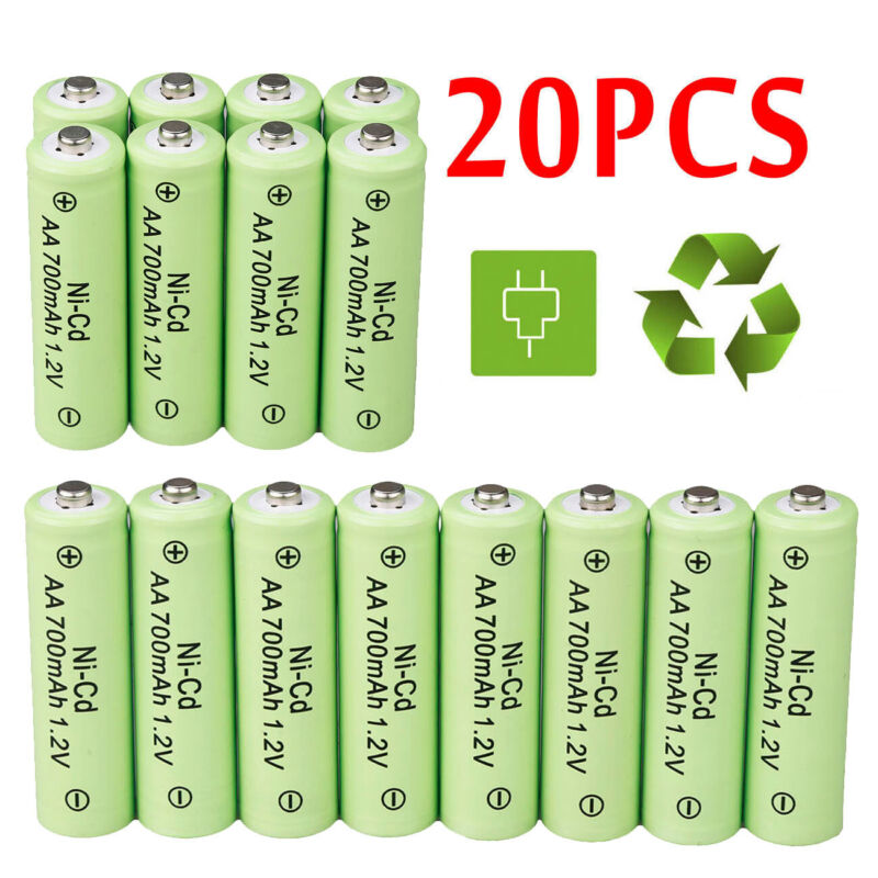 20 AA Rechargeable Batteries NiCD 700mAh 1.2v Garden Solar Ni-CD Light LED